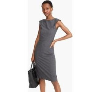 J. Crew | Gray Wool Midi Sheath Suiting Dress 0